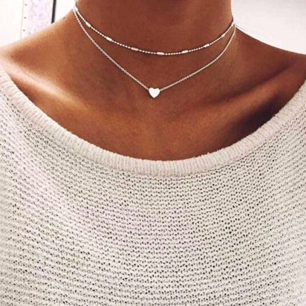 Two layers Love Heart Adjustable Necklace