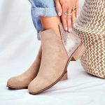 Low Heels Leather Ankle Boots